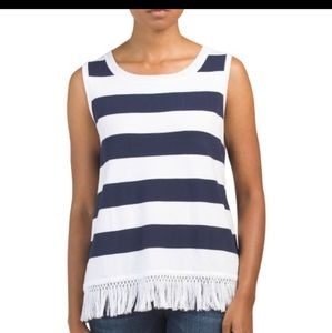 Sail to Sable Striped White/Navy Fringe Knit Top